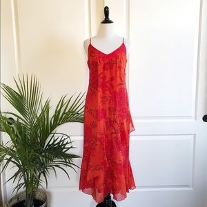 MaxMara Orange Floral Cotton Spaghetti Strap Dress